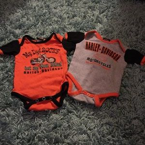 Two Harley Davidson 3/6 Month Baby Onesies